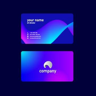 Visitenkarte mit blauem und lila flüssigem formdesign