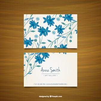 Visitenkarte mit blauen blumen