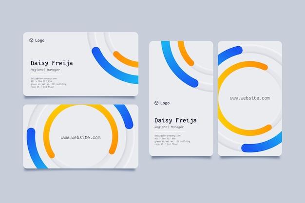 Visitenkarte mit blauen und gelben details von neumorph