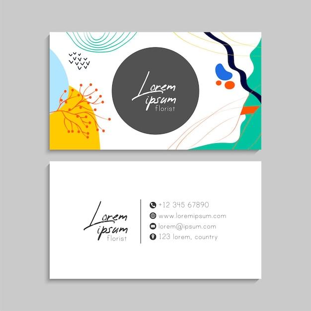 Visitenkarte mit blumen in pastellfarben