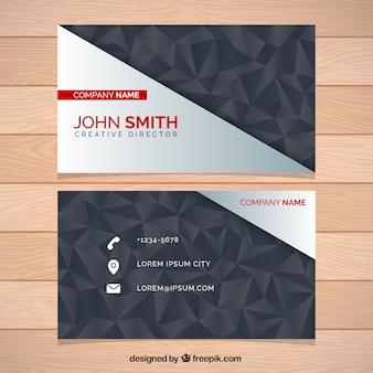 Visitenkarte mit dekorativen polygone in dunklen tönen