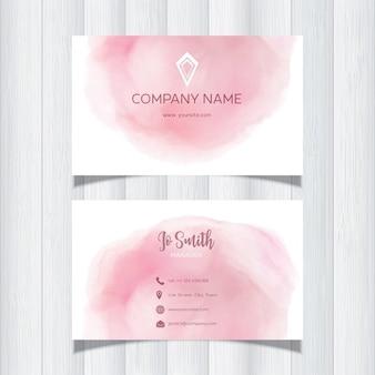 Visitenkarte mit einem rosa aquarellentwurf