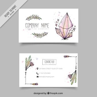 Visitenkarte mit handgezeichneten boho-elementen