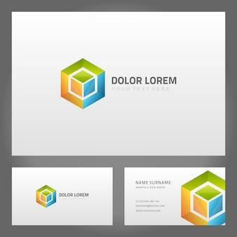 Visitenkarte mit logo in abstrakter quadratischer vorlage