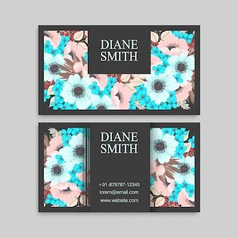 Visitenkarte mit minze und rosa blumen