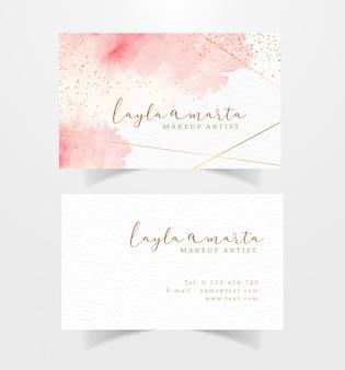 Visitenkarte mit rosa spritzaquarellhintergrund