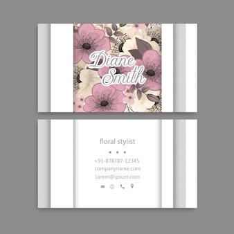 Visitenkarte mit schönen blumen. vorlage
