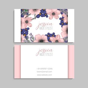 Visitenkarte mit schönen blumen.