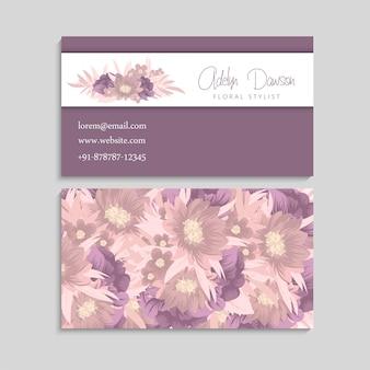 Visitenkarte mit schönen rosa blumen