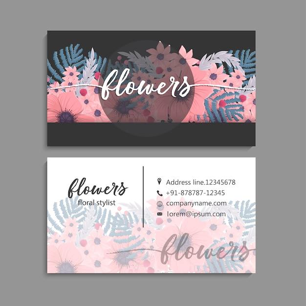 Visitenkarte mit schöner blumenschablone