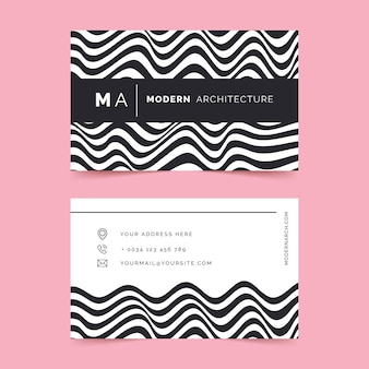 Visitenkarte mit verzerrten linien