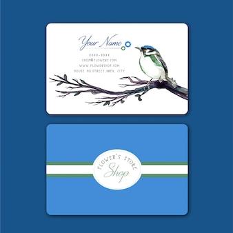 Visitenkarte mit wasser farbe vogel