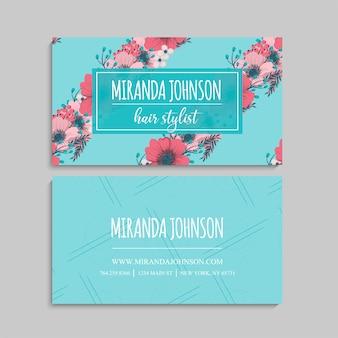 Visitenkarte und visitenkarte mit blumen