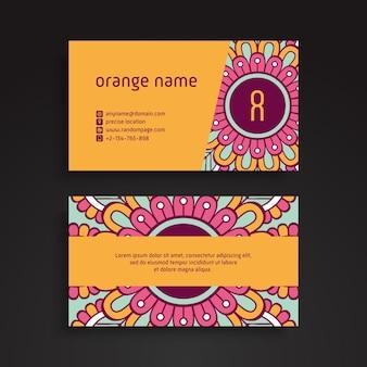 Visitenkarte. vintage dekorative elemente. dekorative blumen visitenkarten oder einladung mit mandala