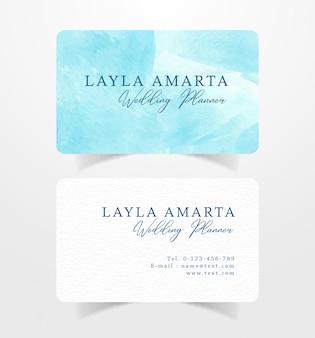 Visitenkarte visitenkarte mit blauem spritzenaquarell