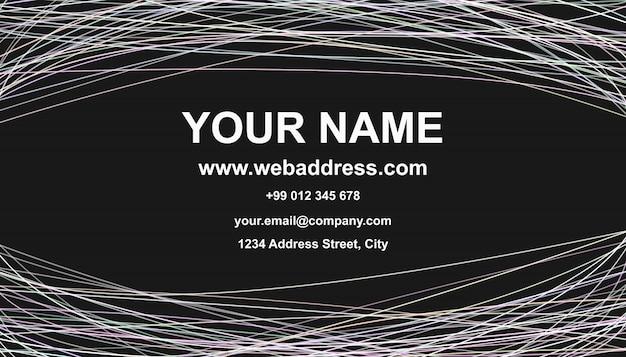 Visitenkarte vorlage design - vektor name karte grafik mit geschwungenen streifen auf schwarzem hintergrund