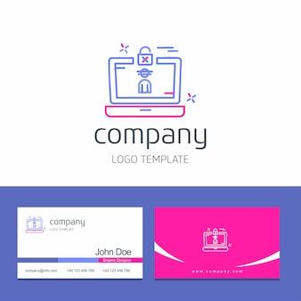 Visitenkartedesign mit cybersicherheitslogo-designvektor