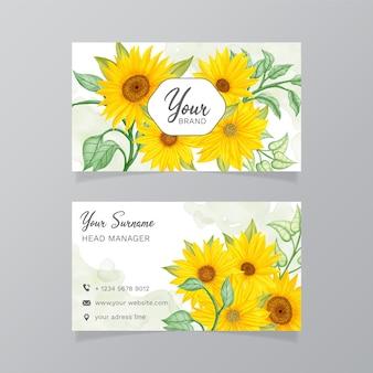 Visitenkarten mit leuchtend gelben sonnenblumen