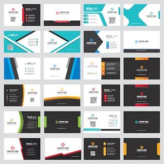 Visitenkarten-sammlung in verschiedenen farben