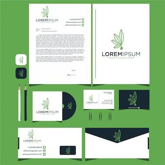 Visitenkarten und schreibwaren mit cannabis-logo