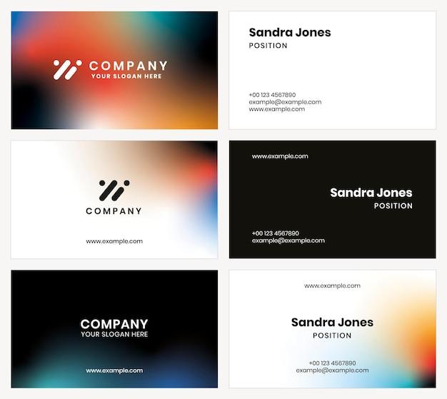 Visitenkarten-vorlagenvektor mit farbverlauf für technologieunternehmen im modernen stilset