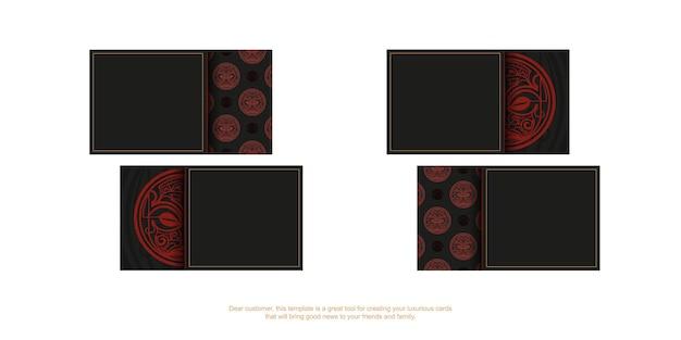 Visitenkartendesign in schwarz mit roten maori-maskenmustern.