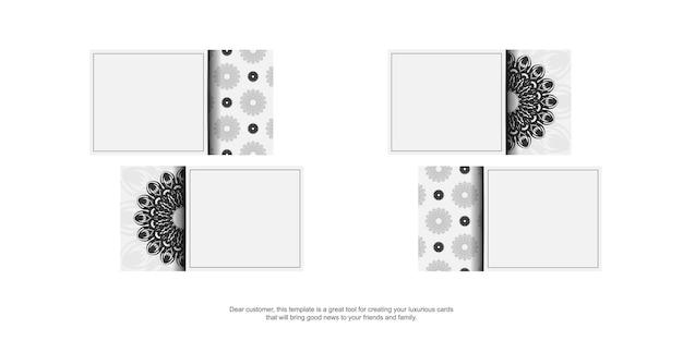 Visitenkartendesign weiße farben mit mandalaverzierung. vektorvisitenkarten mit platz für ihren text und schwarze muster.