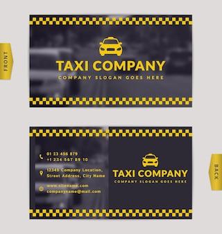 Visitenkartenentwurf mit unscharfem hintergrund. stilvolle vorlage für taxiunternehmen.