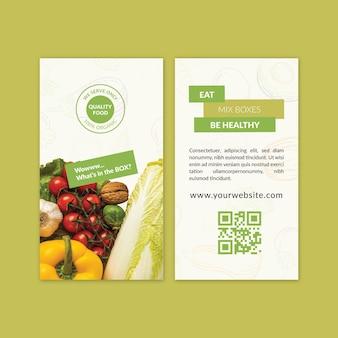 Visitenkartenschablone der bio- und gesunden nahrung mit foto