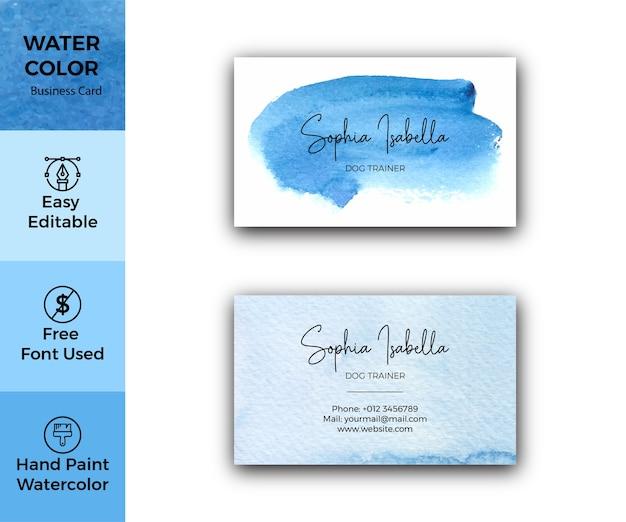 Visitenkartenschablone der blauen aquarellbeschaffenheit
