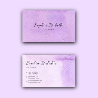 Visitenkartenschablone der violetten aquarellbeschaffenheit