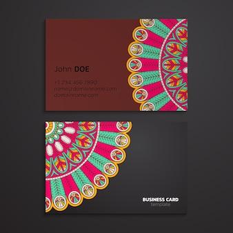 Visitenkartenschablone des ethnischen orientalischen mandalas