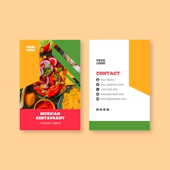 Visitenkartenschablone für mexikanisches essen
