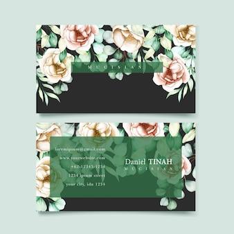 Visitenkartenschablone mit eukalyptusblättern eingestellt