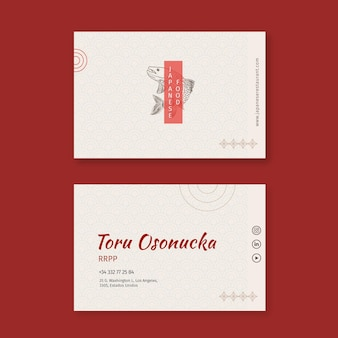 Visitenkartenschablonenpaket des japanischen restaurants