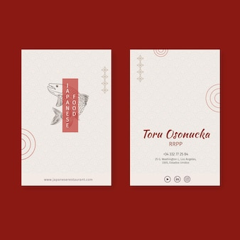 Visitenkartenschablonensatz des japanischen restaurants gesetzt
