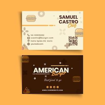 Visitenkartenvorlage der amerikanischen lebensmittelkneipe