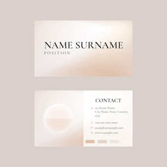 Visitenkartenvorlage in beige für beauty-marke im femininen thema