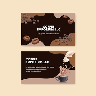Visitenkartenvorlage mit kaffee