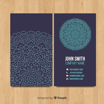 Visitenkartenvorlage mit mandala-design
