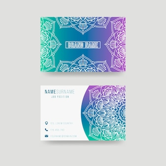 Visitenkartenvorlage mit mandala-thema