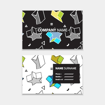 Visitenkartenvorlage mit nahtlosem muster mit 3d-grafiken im pop-art-stil, horizontale vorlage, layout in rechteckgröße.