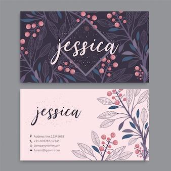 Visitenkarteschablone eingestellt mit aquarellblumen
