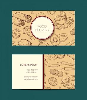 Visitenkarteschablone für restaurant-, shop- oder cafélieferung mit skizzierten mexikanischen lebensmittelelementen