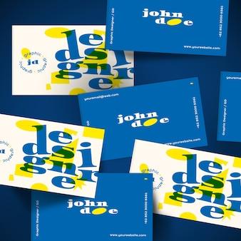 Visitenkarteschablone in blauem und in gelbem