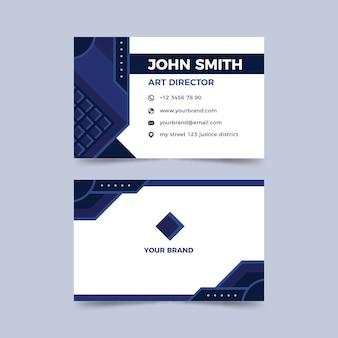 Visitenkarteschablone mit abstrakten blauen formen