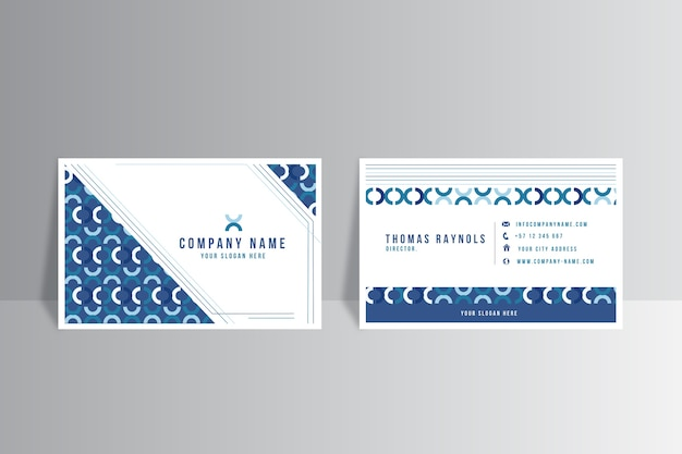 Visitenkarteschablone mit abstrakten klassischen blauen formen
