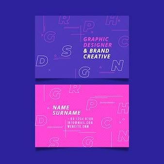 Visitenkarteschablone mit kreativen buchstaben
