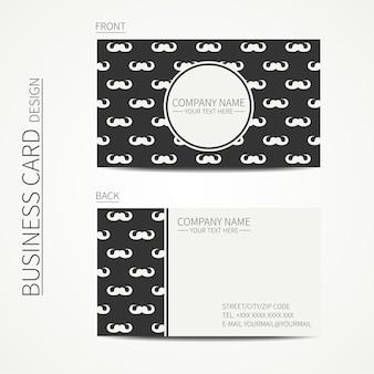 Visitenkarteschablone mit lockigem weinlesehippie-gentleman-schnurrbart