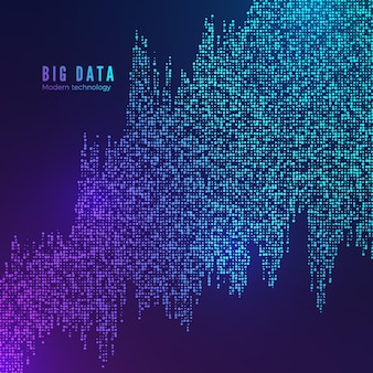 Visualisierung des big data-flusses. digitaler datenstrom. abstrakter technologiehintergrund in den blauen farben.